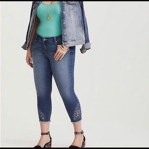 Torrid Skinny Blue Denim Ankle Jeans.